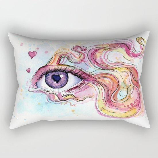Eye Betta Fish Surreal Animal Hearts Watercolor Rectangular Pillow