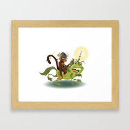 Monkey Warrior on a Unicorn Toad Framed Art Print