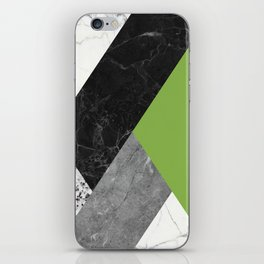 Black and White Marbles and Pantone Greenery Color iPhone Skin
