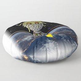 Flying Spaghetti Monster Earth Space Stars Rocket Atmosphere Floor Pillow