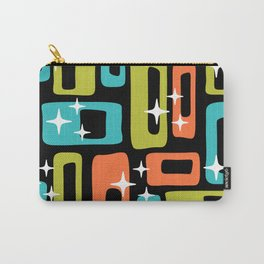 Retro Mid Century Modern Abstract Pattern 222 Orange Chartreuse Turquoise Carry-All Pouch