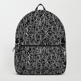 Elios Shirt Faces with Valentine Hearts in White Outlines on Black Backpack