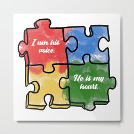 Autism Child Love Puzzle Asperger-Syndrome Gift Metal Print