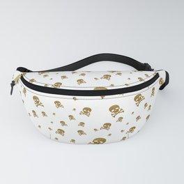 Golden Glitter Pirate Skull on White Fanny Pack
