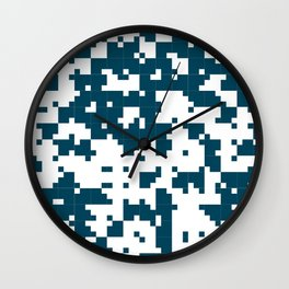 Small Pixel Big Pixel - Geometric Pattern in Dark Blue Wall Clock