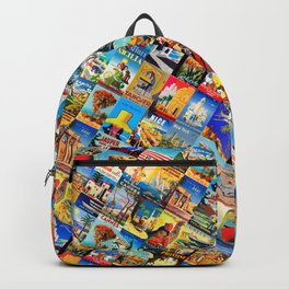 Retro travel mosaic poster pattern Backpack