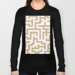 White and Tan Brown Labyrinth Long Sleeve T-shirt