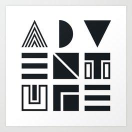 Geometric Adventure B&W Art Print