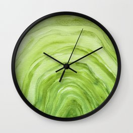 Agate II - Lime Green Watercolor Wall Clock