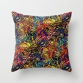 Rainbow Dotted Floral Batik Pattern Throw Pillow