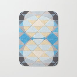 Triangle Pattern No. 14 Circles in Black, Blue and Yellow Bath Mat