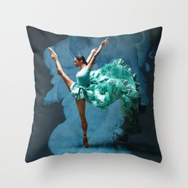 -O1- Blue Ballet Dancer Deep Feelings. Throw Pillow