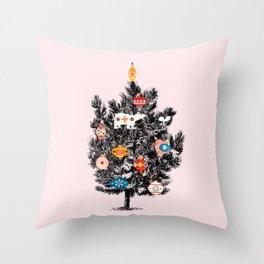 Retro Christmas tree no3 Throw Pillow