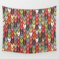 knit Wall Tapestries featuring beach knit ikat arrow by Sharon Turner