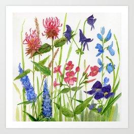 Garden Flowers Botanical Floral Watercolor on Paper Kunstdrucke