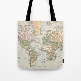 Vintage Map of The World (1892) Tote Bag