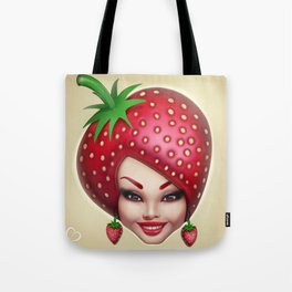 Strawberry fruit face Tote Bag