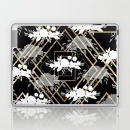 Geometrical faux gold black white floral pattern Laptop & iPad Skin