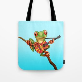 Tree Frog Playing Acoustic Guitar with Flag of Macedonia Tote Bag