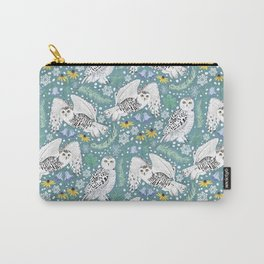 Snowy Owls on a Snowy Day - Teal Background Carry-All Pouch