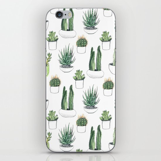 watercolour cacti and succulent iPhone Skin