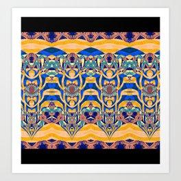 Elegant Modern Tribal Art Print in Orange and Blue Art Print
