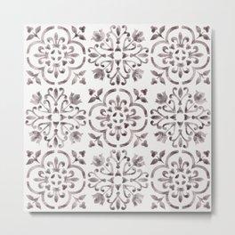 Light Wash Bloodstone - Watercolor Moroccan Tiles Metal Print