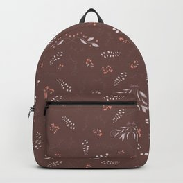 Pastel brown pink gray blue hand painted autumn floral Backpack