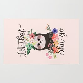 SLOTH ADVICE (pink) - LET THAT SHIT GO Rug