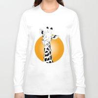 giraffes Long Sleeve T-shirts featuring giraffes  by Eda ERKOVAN
