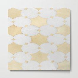 White Gold Marble Moraccan Pattern Metal Print