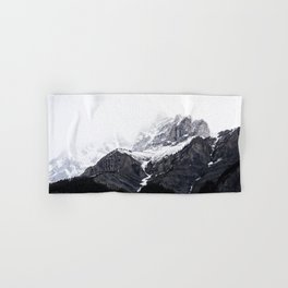 Moody snow capped Mountain Peaks - Nature Photography Hand & Bath Towel