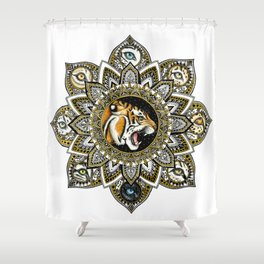 Black and Gold Roaring Tiger Mandala With 8 Cat Eyes Shower Curtain
