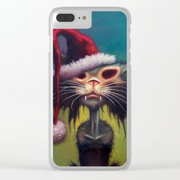 Zombie Cat Christmas Clear iPhone Case