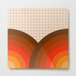 Tan Gridlines Metal Print
