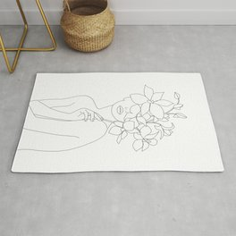 Minimal Line Art Woman with Orchids Rug