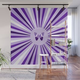 Ultra Violet Flower and Butterfly Wall Mural