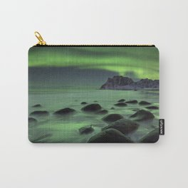 Aurora borealis over a beach on the Lofoten in Norway Carry-All Pouch