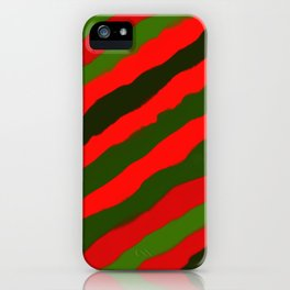 Merry Red Green Holiday Stripes iPhone Case