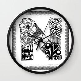 Zentangle N Monogram Alphabet Initials Wall Clock