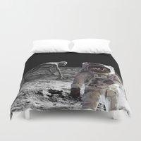 lunar Duvet Covers featuring Lunar Contact by Maioriz Home