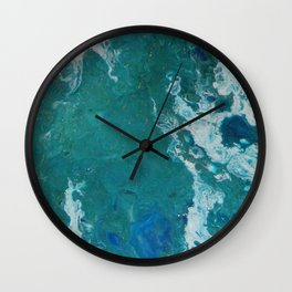 A View From Space, abstract acrylic fluid painting Wall Clock