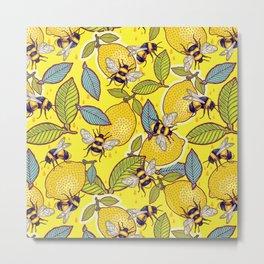 Yellow lemon and bee garden. Metal Print