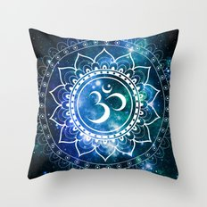 Om Mandala : Blue Green Galaxy Throw Pillow