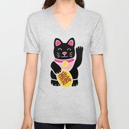 Lucky Black Cat Unisex V-Neck