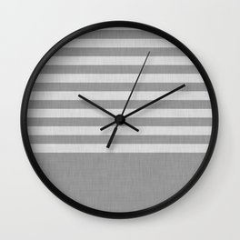 Gray color block and stripes Wall Clock