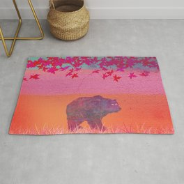 Little bear in the colorful field, leaf, colors, pink, blue, field, grass, bear Rug