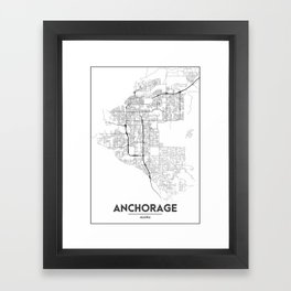 Minimal City Maps - Map Of Anchorage, Alaska, United States Framed Art Print