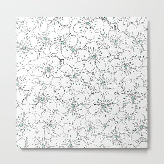 Cherry Blossom Mint Metal Print