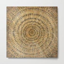 Elder Futhark Spiral Art on Wooden texture Metal Print